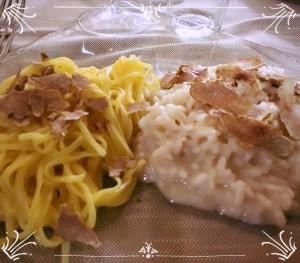 Bis di risotto e tajarin al tartufo bianco d'Alba