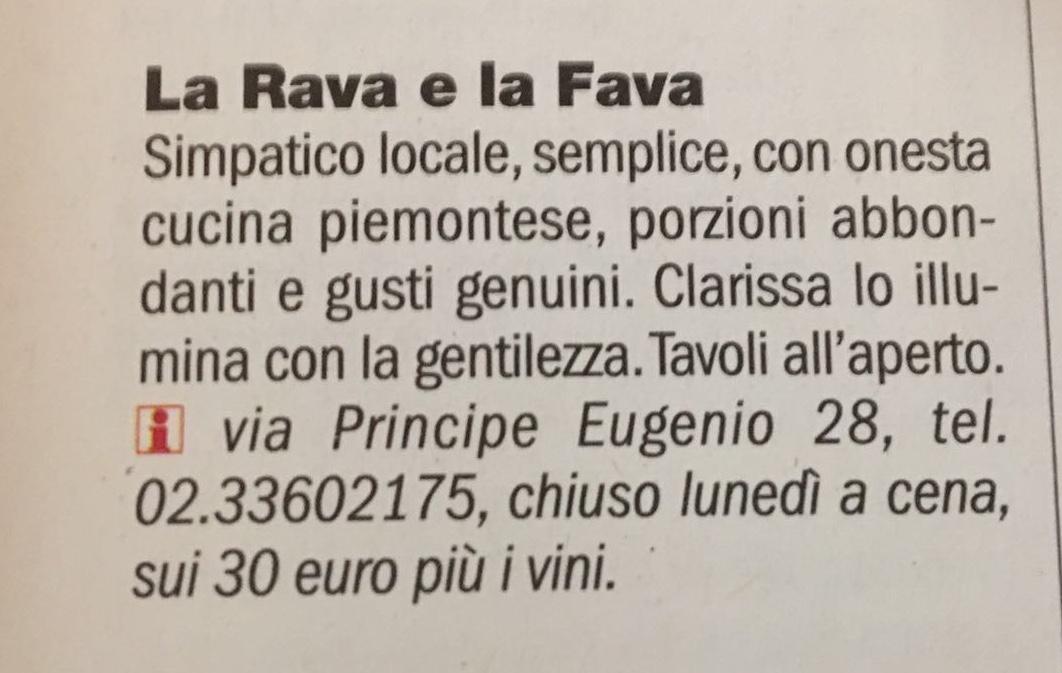 TuttoMilano, Repubblica, 11 01 2018 – Trattoria LaRavaelaFava